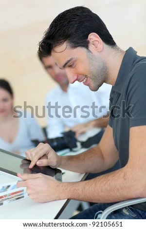 Young adult in business training - stock photo