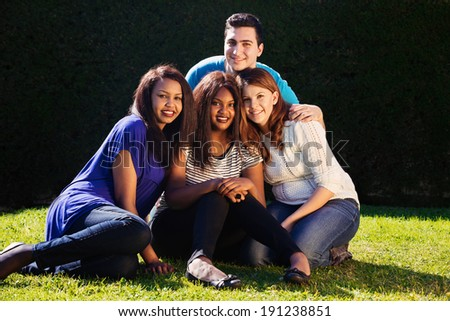 Young adult interracial group of friends   - stock photo