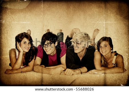 Young adult lifestyle group - stock photo