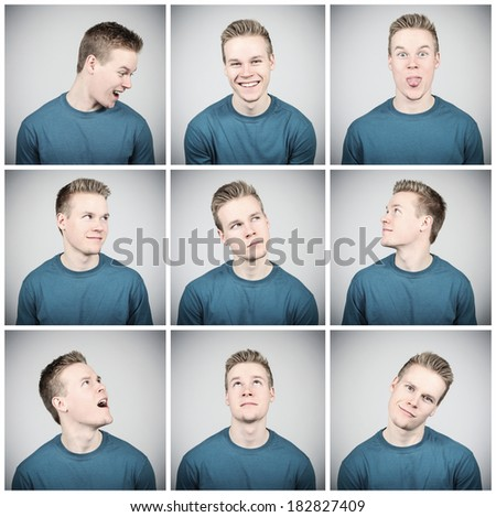 Young adult making different facial expressions