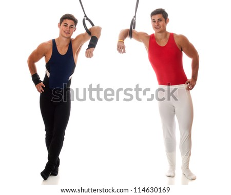 Young adult male gymnasts. Studio shot over white.