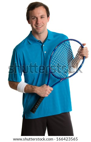 Young adult male tennis player. Studio shot over white. - stock photo