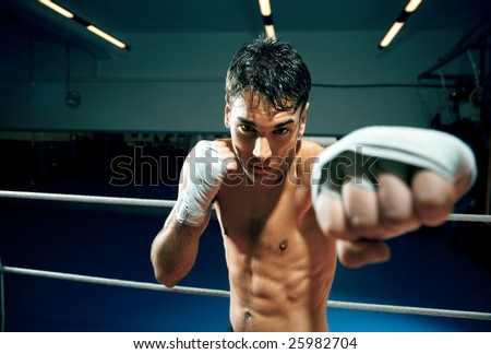young adult man boxing in gym. Copy space - stock photo