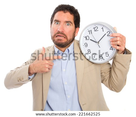 young adult man with a clock