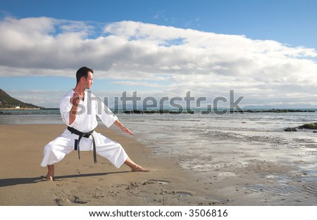 Young adult man with black belt practicing a Kata on the beach on a sunny day - stock photo