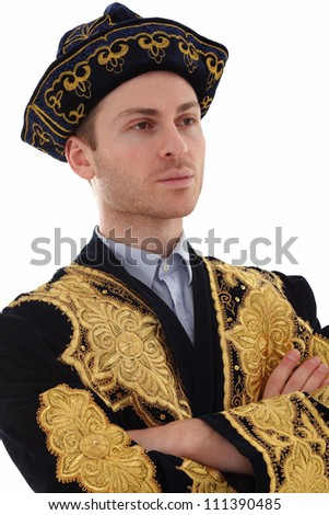 Young adult man with Kazakhstan costume