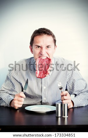 young adult men eating raw meat, toned image, add grain