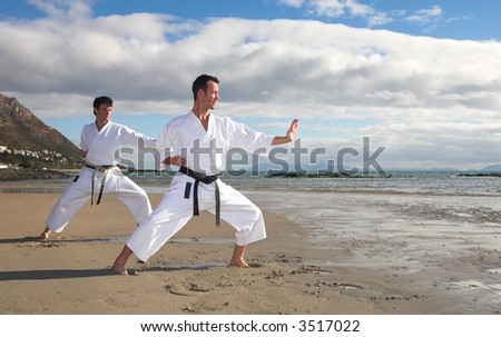 Young adult men with black belt practicing a Kata on the beach on a sunny day - stock photo