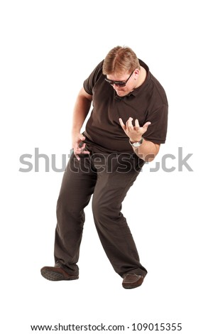Young adult playing air guitar and makes some gestures, full body shoot, isolated on white. - stock photo
