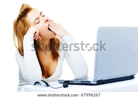 young adult red haired business lady  over white frustrated with her computer - stock photo