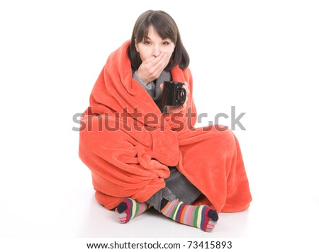 young adult sick woman. over white background - stock photo