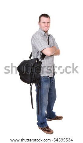young adult student over white background - stock photo
