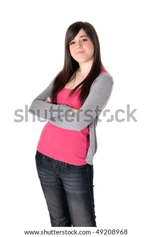 Young adult teen satisfied on white background.