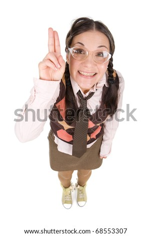 young adult woman as silly nerd - stock photo