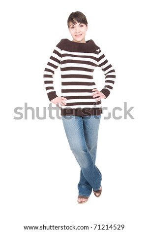 young adult woman over white background