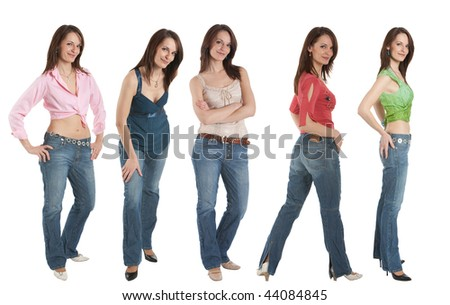 young adult woman wearing jeans and various tops in five different poses