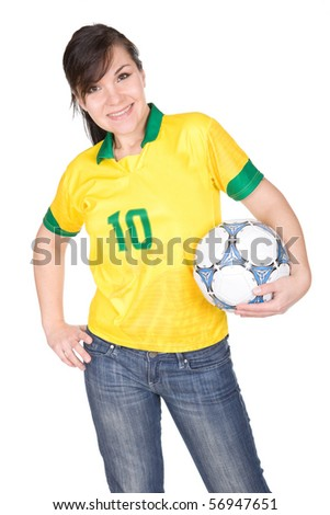 young adult woman with ball. over white background - stock photo