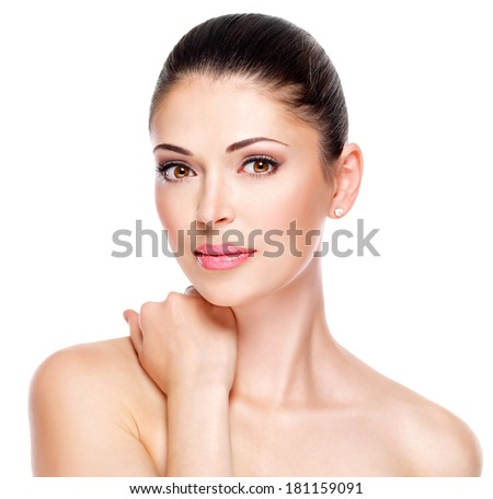 young adult woman with beautiful face - isolated on white. Skin care concept. - stock photo