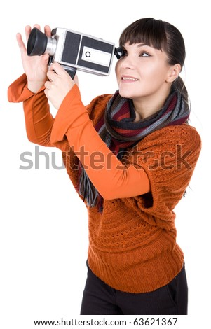 young adult woman with retro camera. over white background