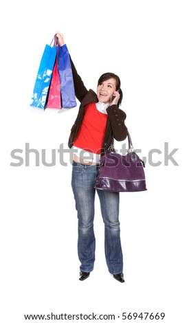 young adult woman with shopping bags