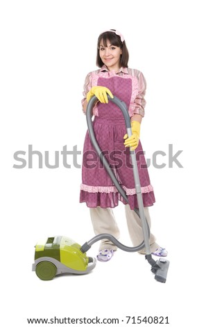 young adult woman with vacuum over white background - stock photo