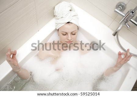 young adult women having spa in bathroom and relax, do yoga