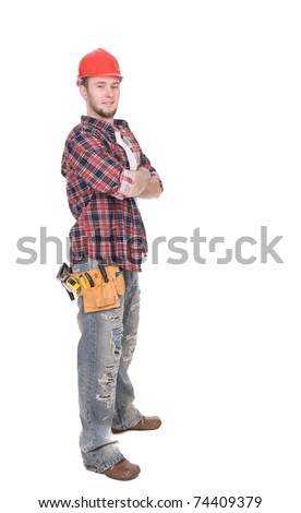 young adult worker over white background