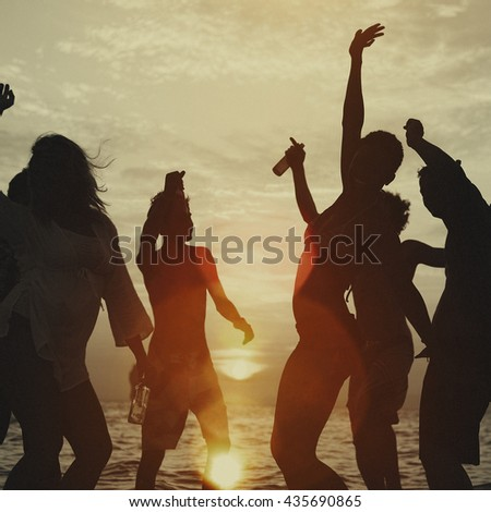 Young Adults Enjoying Tropical Beach Party Concept - stock photo