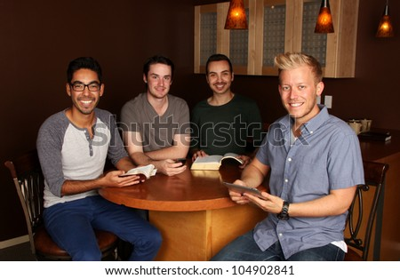 Young Adults Guys Bible Study - stock photo
