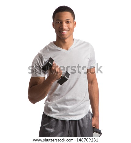 Young African American Athlete Holding Lifting Dumbbells on Isolated White Background - stock photo