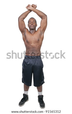 Young African American black man with his shirt removed