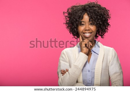 Young African American black woman thinking pose face portrait