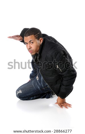 Young African American breakdancer performing - stock photo
