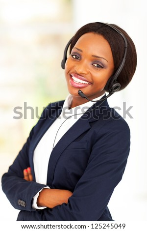 young african american business call center operator - stock photo