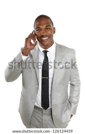 young african american business male talking on cell phone isolated on white. - stock photo