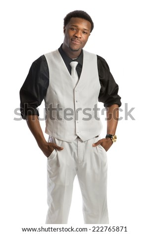 Young African American Business Man Hand Gesture, Wear Formal Dress, White Tie Smiling Isolated on White Background - stock photo