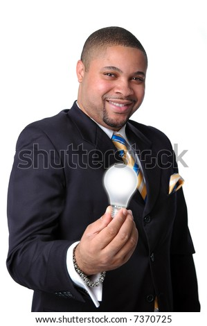 Young African American businessman expressing an ideas metaphor--Isolated over a white background