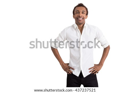 Young african american businessman isolated on white background with copy space - stock photo