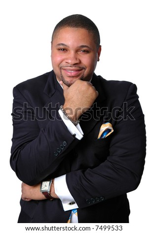 Young African American businessman thinking isolated over a white background.