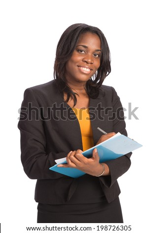 Young African American Businesswoman Holding Folders on Isolated White Background - stock photo