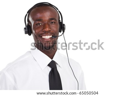 young african american call center consultant with headset on white - stock photo