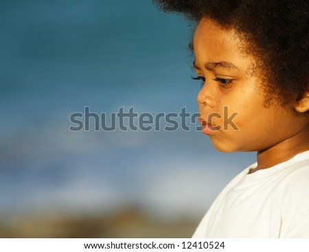 Young African American child with copyspace on left of image - stock photo
