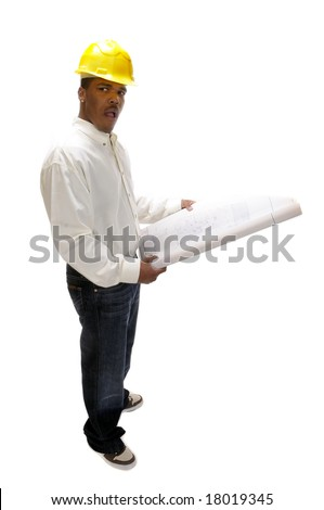 young African American contractor with look of shock on face while reviewing plans, isolated on white - stock photo