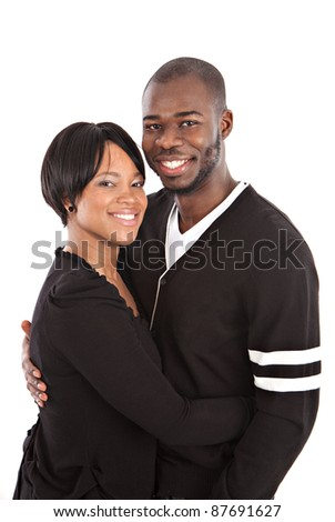 Young African American Couple Closeup Happy Portrait Isolated - stock photo