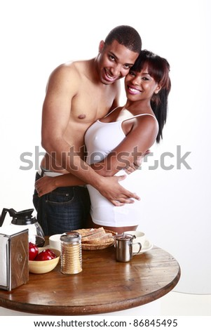 Young African American couple have fun and breakfast