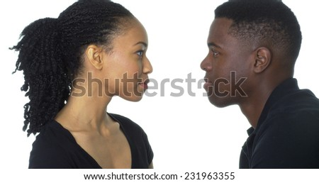 Young African American couple looking at each other - stock photo