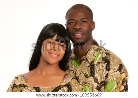 Young African American Couple Wearing Colorful Costume Closeup Happy Portrait Isolated - stock photo