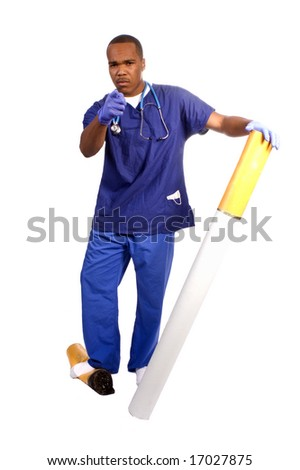 young African American doctor admonishing children, for use in an anti smoking campaign - stock photo
