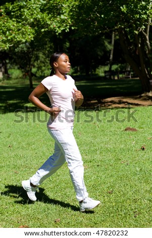 young african american female runner - stock photo