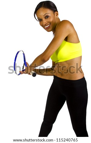 young African American female tennis player - stock photo